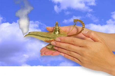 a photo of a woman rubbing a genie lamp