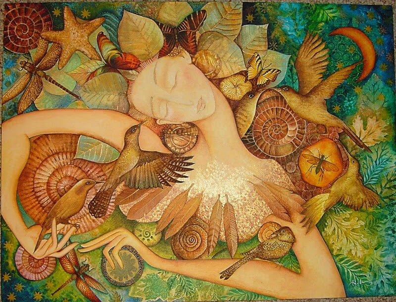 Mujer-con-pájaros