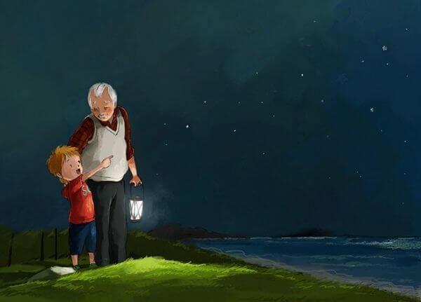 Nieto-y-abuelo-mirando-las-estrellas